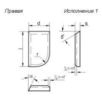 Пластина 10151 Т5К10 правая (20х12х7х18гр) (для проходных прямых , расточных и револьверных резцов)