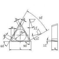 Пластина TPКN  -  1603РРN МС321 (К20) трехгранная (01371) гладкая без отверстия